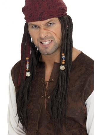 Pirátský šátek deluxe - dredy a korálky 21f50b0ae7