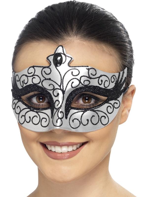 828a9f6ed Benátská maska Labutí princezna - stříbrná - Ptákoviny Ípák